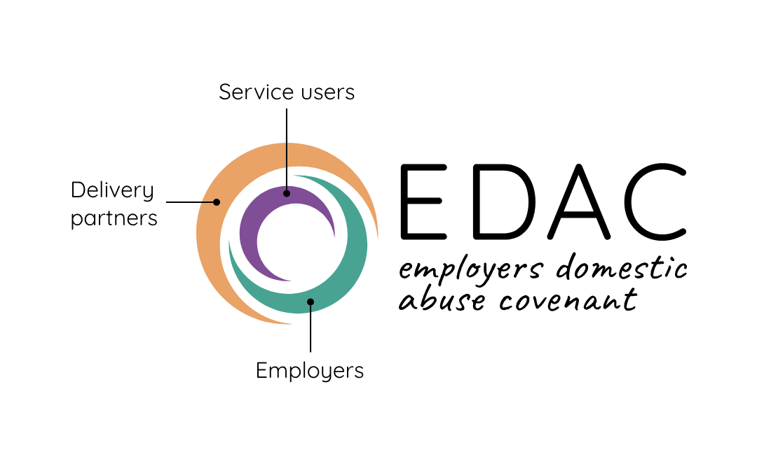 EDAC logo showing purple represents service users, teal represents employers and orange represents delivery partners.