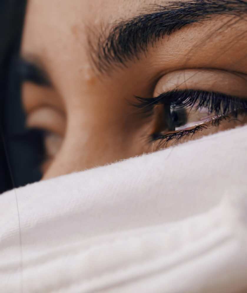 woman with tears in her eyes